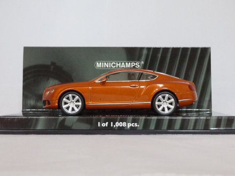 Bentley Continental GT, 2011, oranje, Minichamps, 436 139981