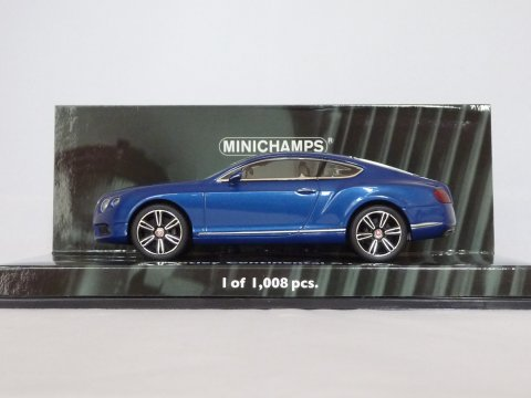 Bentley Continental GT V8, 2011, blauw, Minichamps, 436 139982
