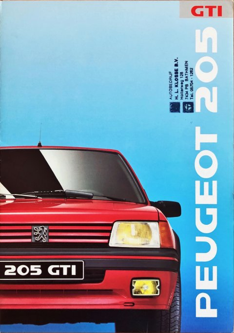 Peugeot 205 GTi nr. -, 1988 (mj. 1989) A4, 6, NL year 1988 folder brochure