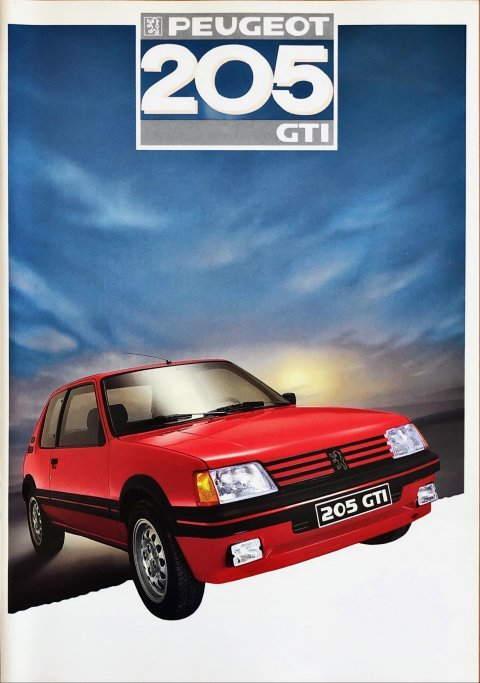 Peugeot 205 GTi nr. 1C417, 1986 (mj. 1987) A4, 16, NL year 1986 folder brochure