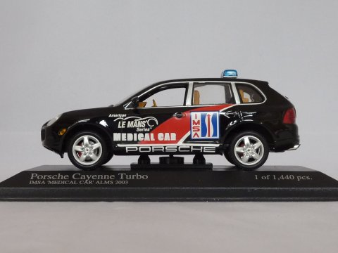 Porsche Cayenne Turbo IMSA Medical Car, 2003, zwart, Minichamps, 400 061082